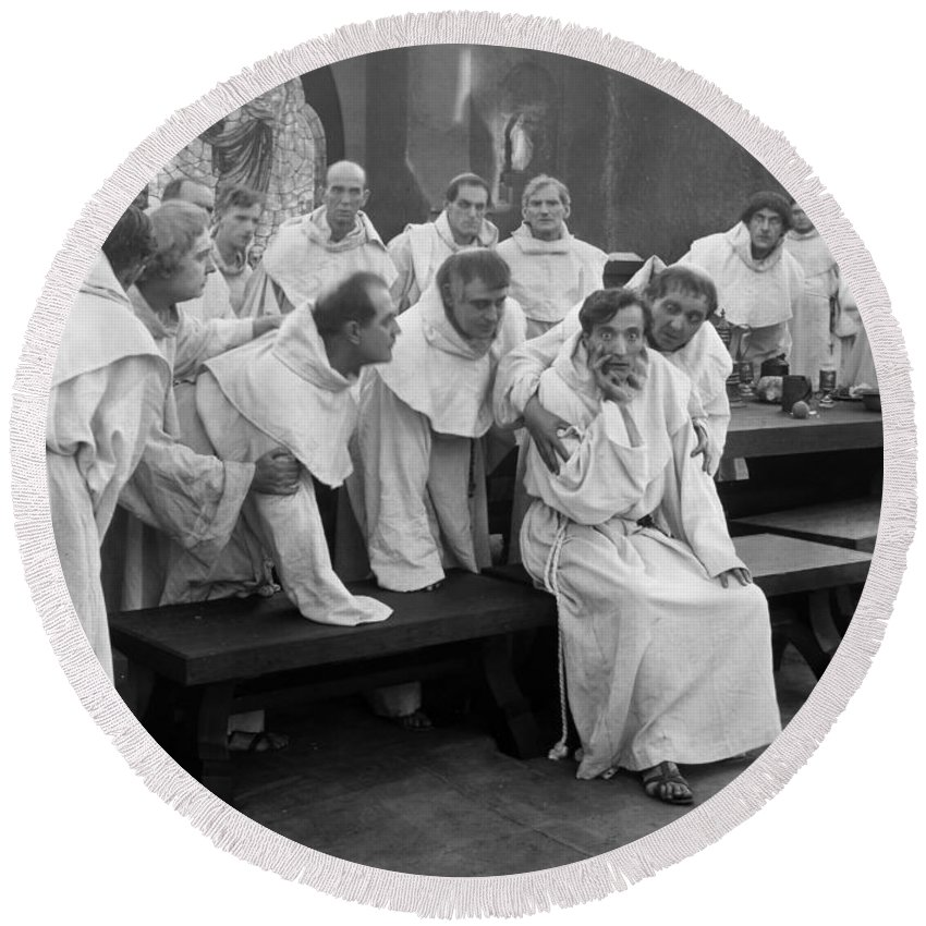 -men Group- Round Beach Towel featuring the photograph Silent Still: Group Of Men by Granger