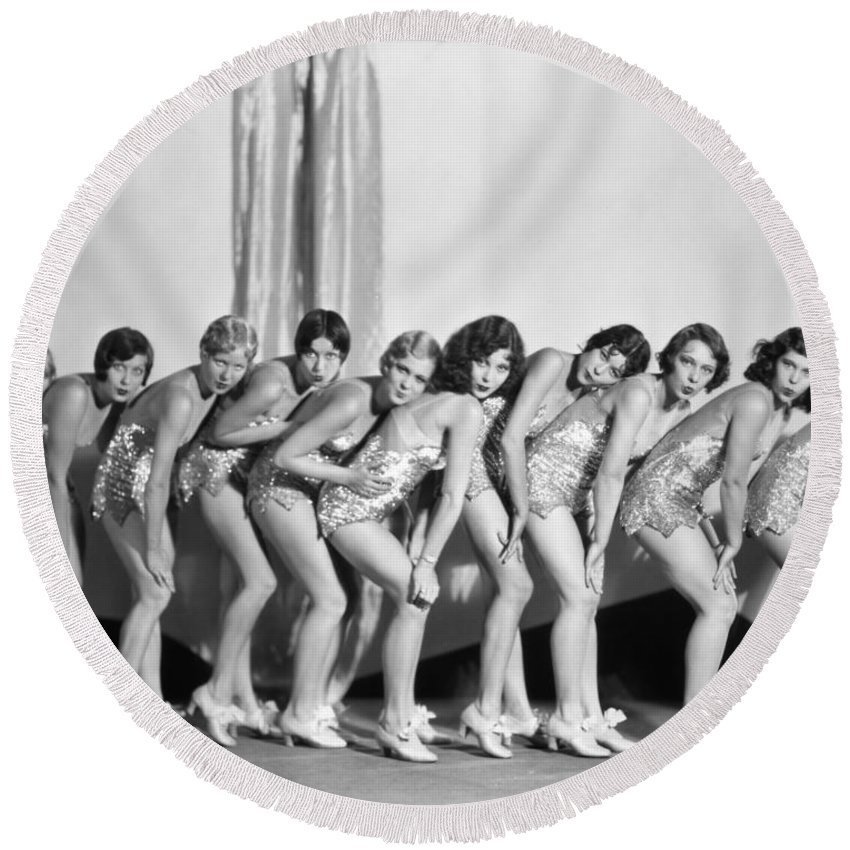 -showgirls- Round Beach Towel featuring the photograph Silent Still: Showgirls by Granger