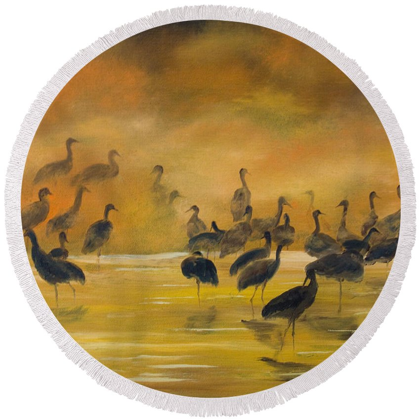 Silhouette Round Beach Towel featuring the painting Silhouettes In The Mist by Dee Carpenter