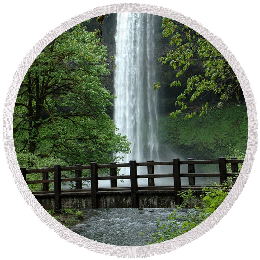 Silver Falls Round Beach Towel featuring the photograph Silver Falls 2 In Oregon by Mike Nellums