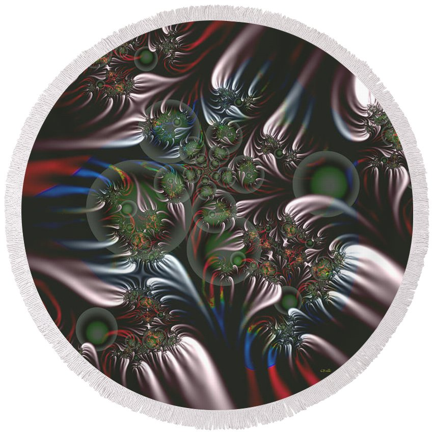 Fractal Round Beach Towel featuring the digital art Silver Seedpods by Claire Bull