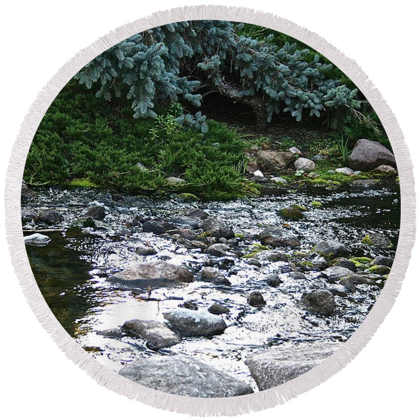 Outdoors Round Beach Towel featuring the photograph Silver Stream by Susan Herber