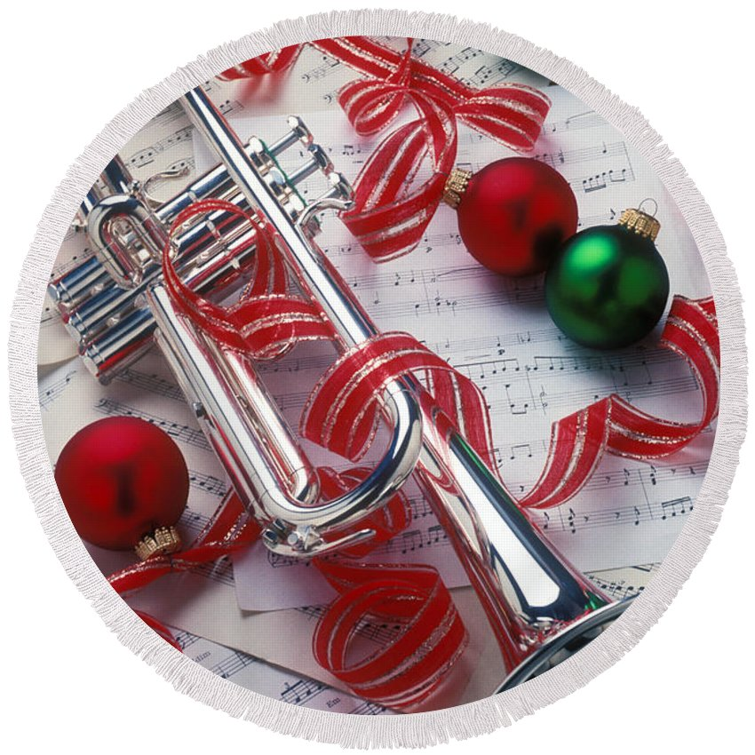 Trumpet Round Beach Towel featuring the photograph Silver Trumper And Christmas Ornaments by Garry Gay