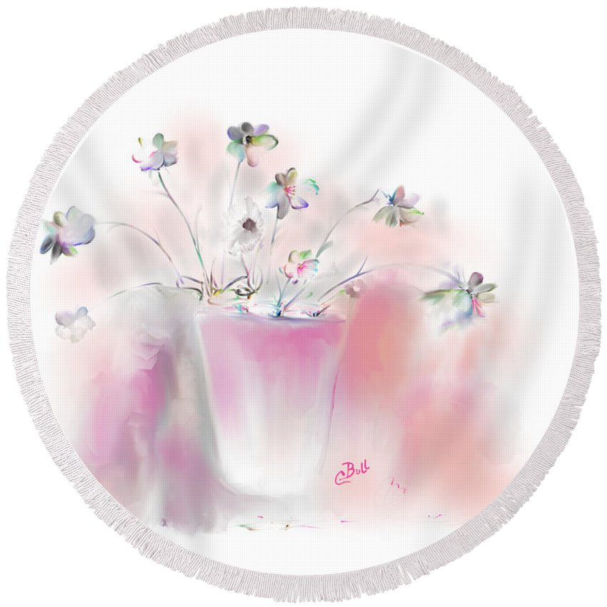 Flowers Round Beach Towel featuring the painting Simple Spring Flowers by Claire Bull