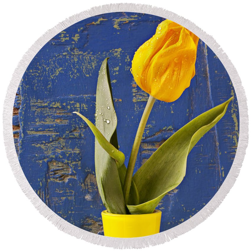 Yellow Round Beach Towel featuring the photograph Single Yellow Tulip In Yellow Vase by Garry Gay