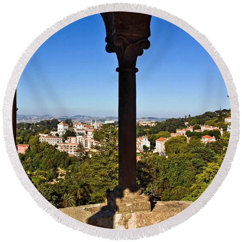 Ancient Round Beach Towel featuring the photograph Sintra Balcony by Carlos Caetano