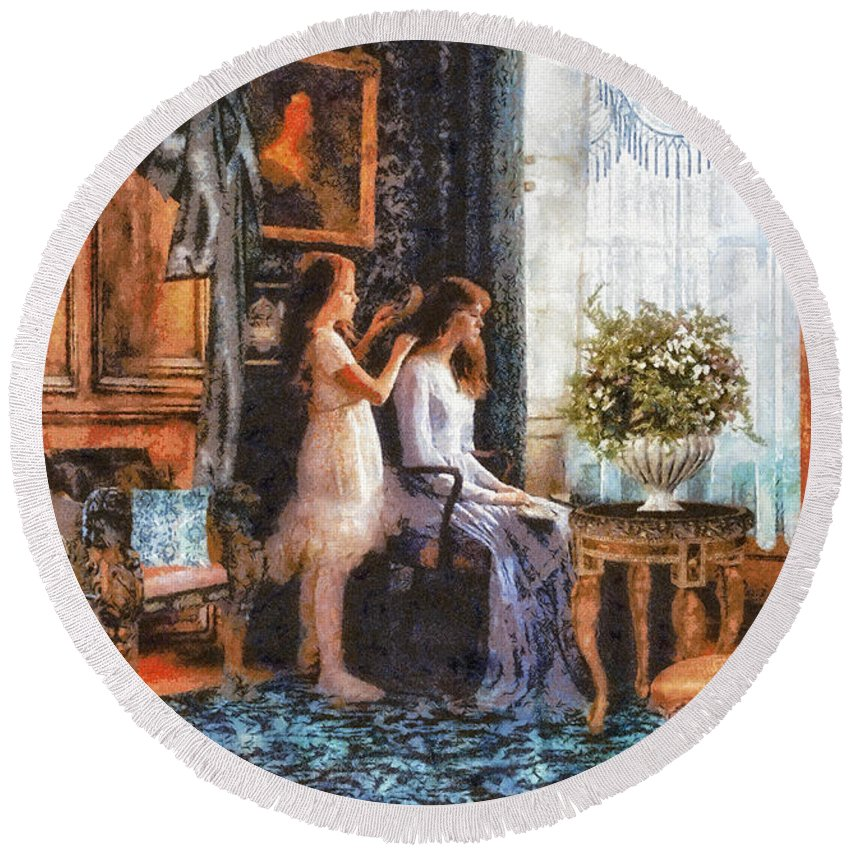 Sisters Round Beach Towel featuring the painting Sisters by Mo T