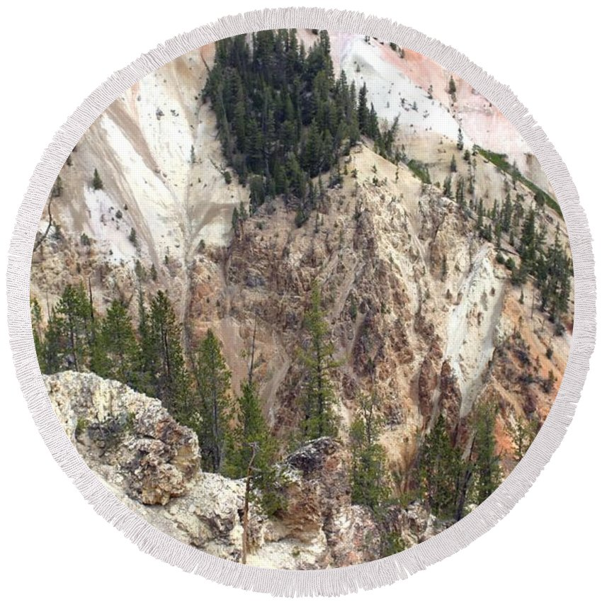 Grand Canyon Round Beach Towel featuring the photograph Sit For A Spell At Grand Canyon In Yellowstone by Living Color Photography Lorraine Lynch