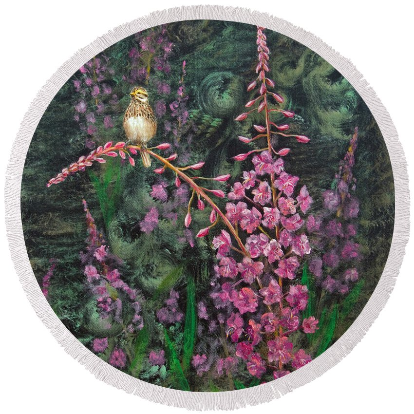 Fireweed Round Beach Towel featuring the painting Sittin' Pretty by Dee Carpenter