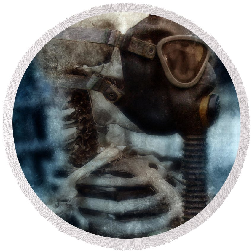 Gas Mask Round Beach Towel featuring the photograph Skeleton In Gas Mask by Jill Battaglia