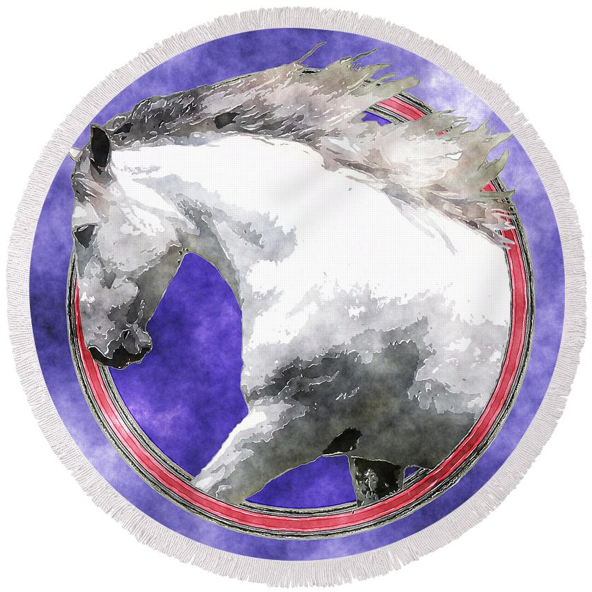 Horse Round Beach Towel featuring the photograph Sky Andalusian by Vicki Podesta