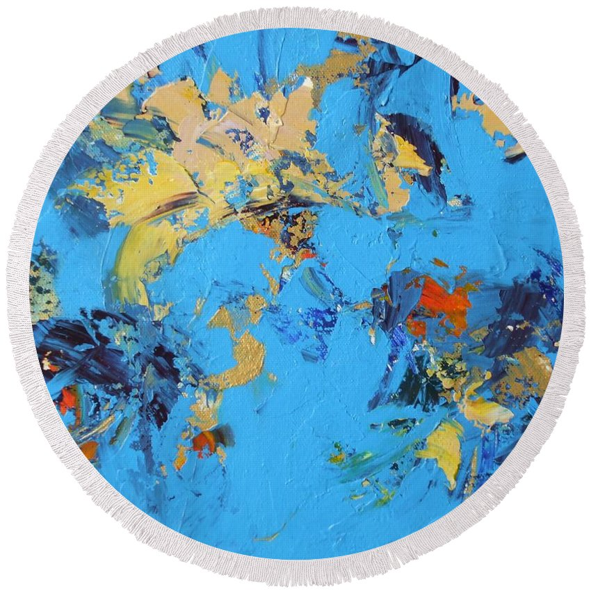 Abstract Round Beach Towel featuring the painting Sky by Claire Gagnon