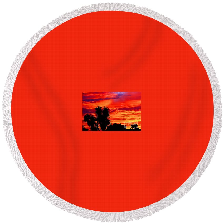 Coastal Photos Round Beach Towel featuring the photograph Morro Bay California Sky Fire by Tap On Photo