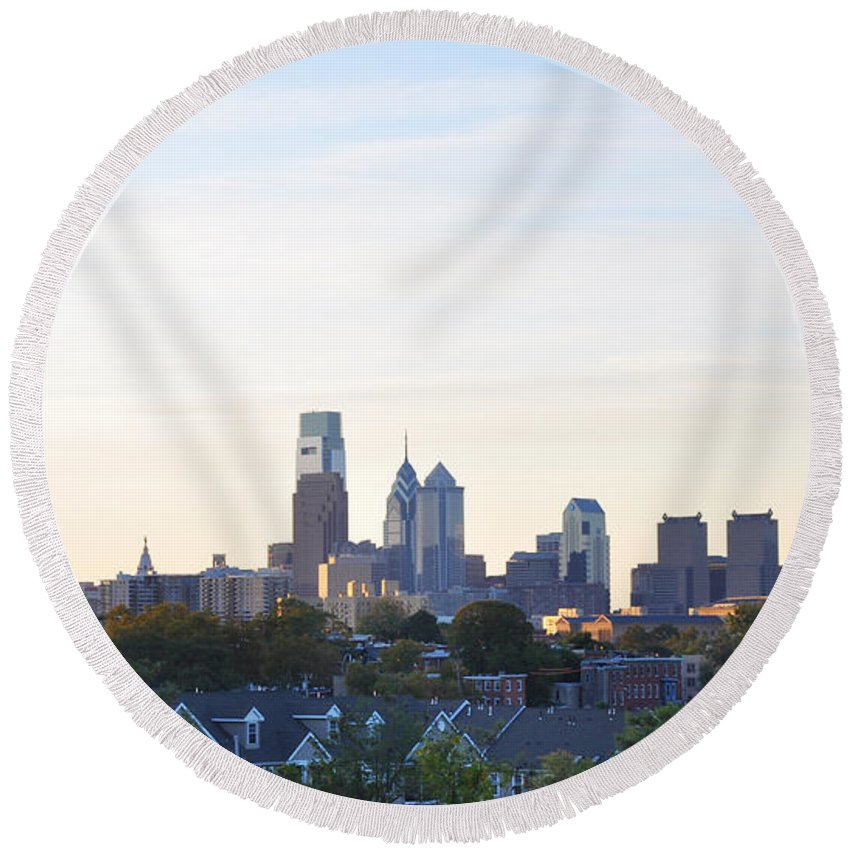 Skyline View Of Philadelphia Round Beach Towel featuring the photograph Skyline View Of Philadelphia by Bill Cannon