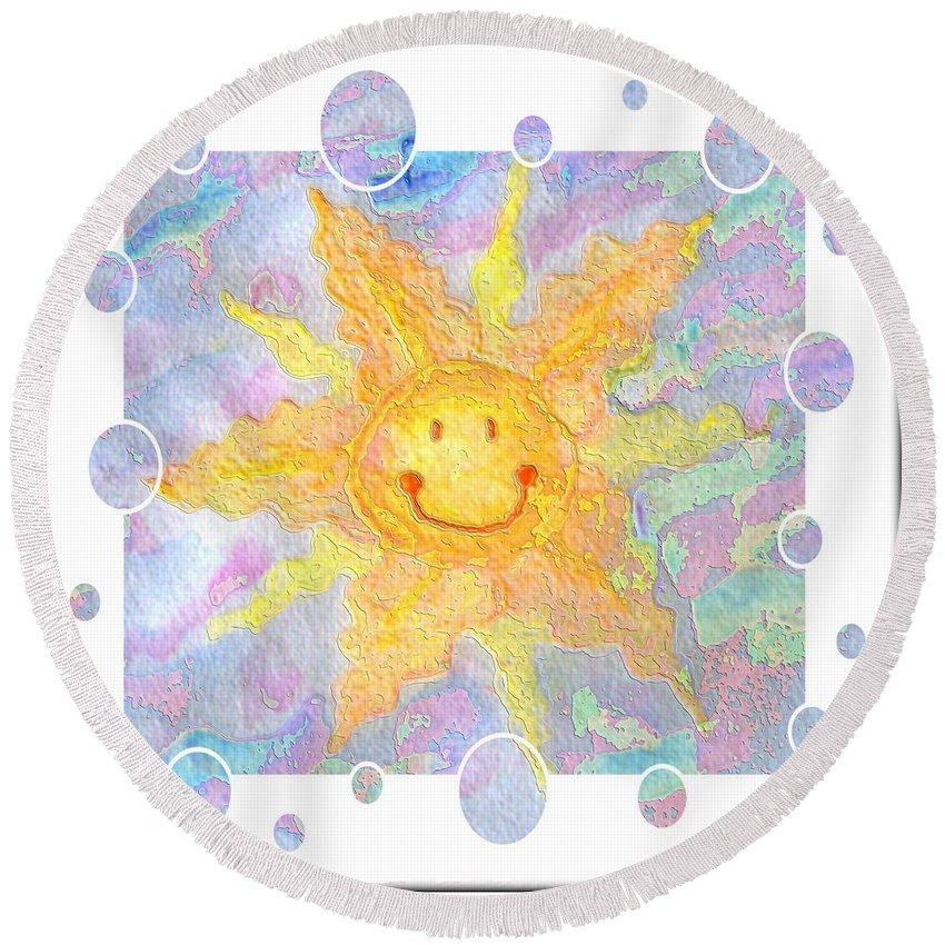 Round Beach Towel featuring the digital art Smile by Debbie Portwood