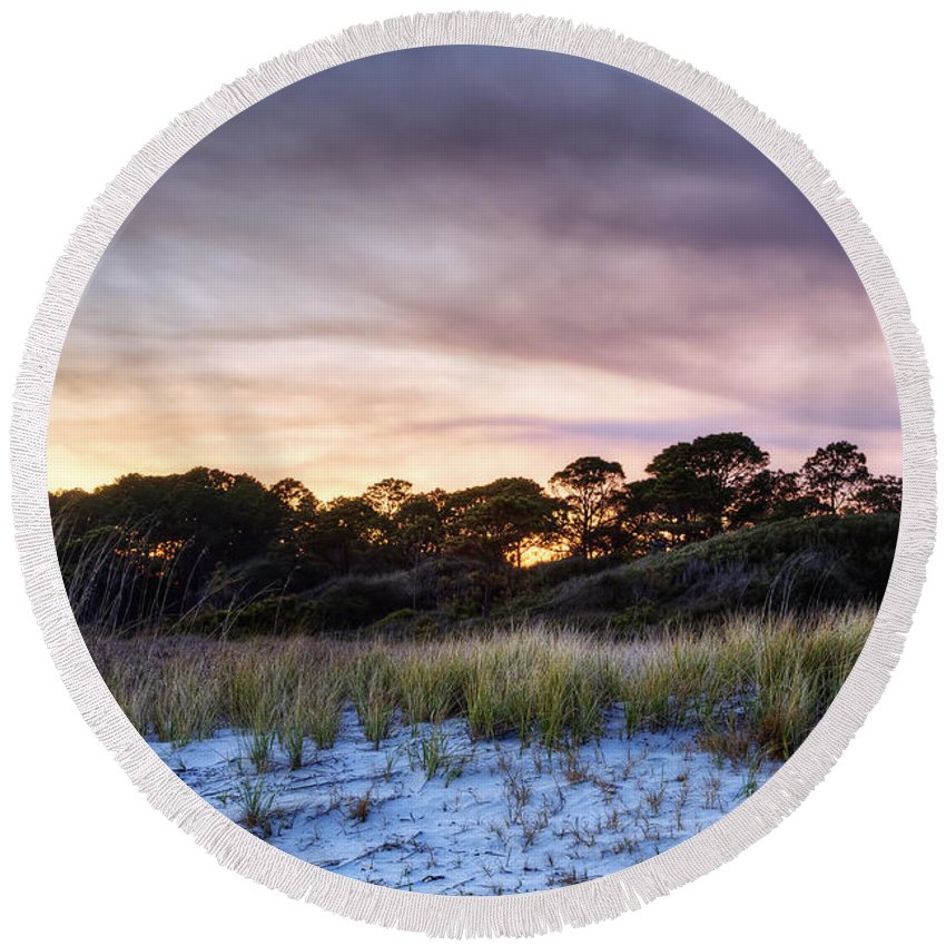 Beach Round Beach Towel featuring the photograph Smoke In The Beach Air by Phill Doherty