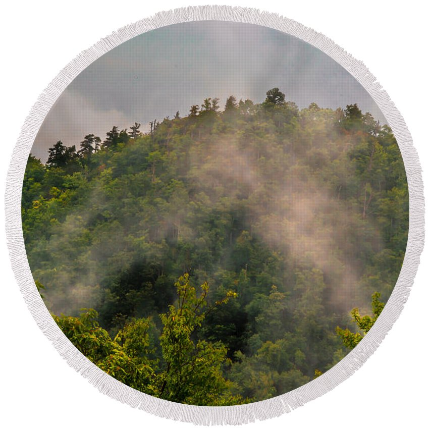 Smoke Round Beach Towel featuring the photograph Smokey Mountain by Scott Hervieux