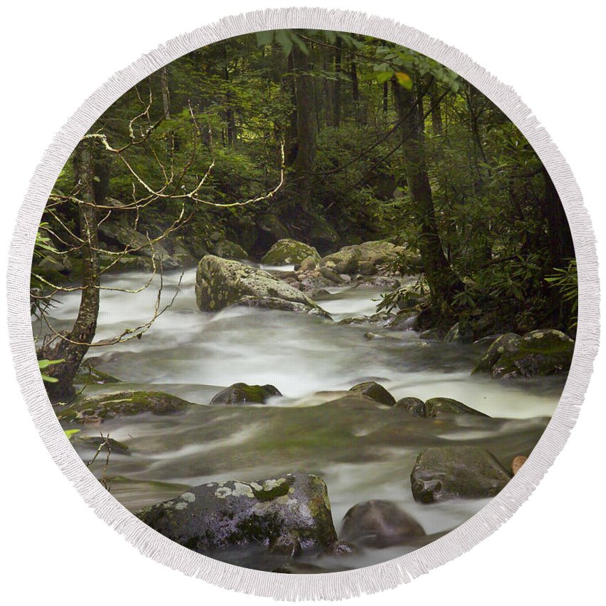 Art Round Beach Towel featuring the photograph Smokey Mountain Stream No.326 by Randall Nyhof