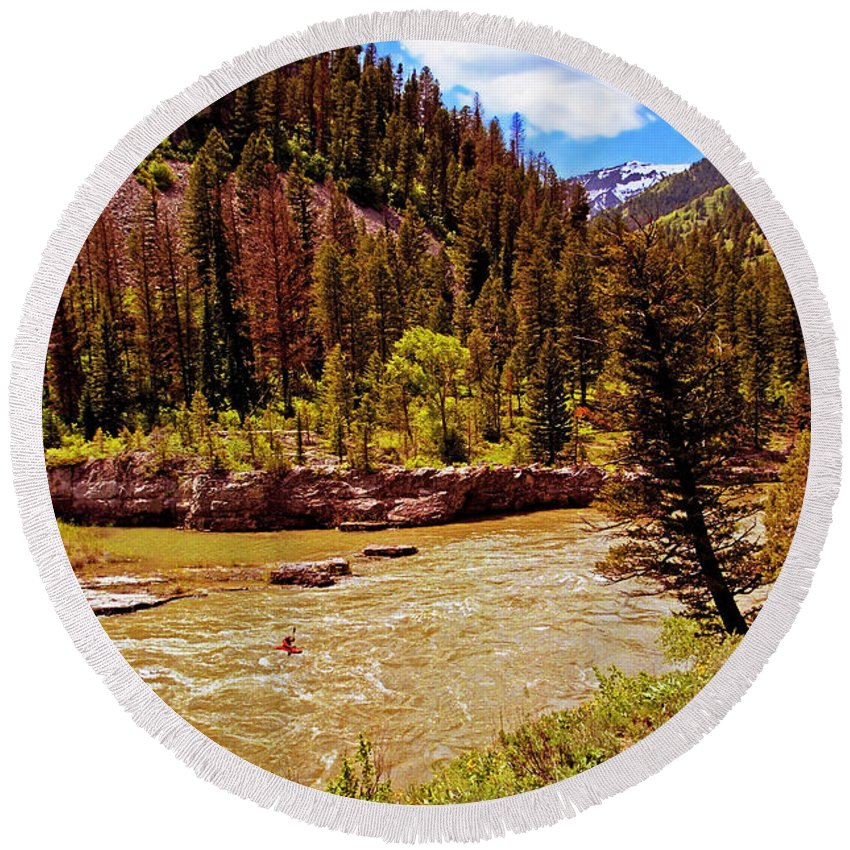 Wyoming Round Beach Towel featuring the photograph Snake River And Kayaker by Rich Walter