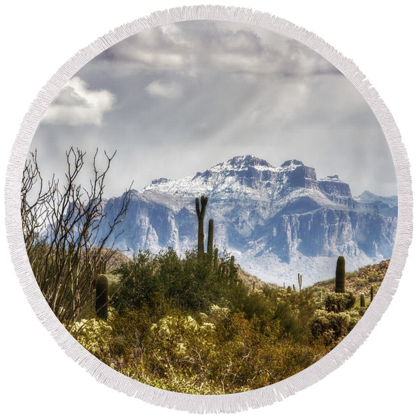 Superstition Mountains Round Beach Towel featuring the photograph Snow Atop The Superstitions by Saija Lehtonen