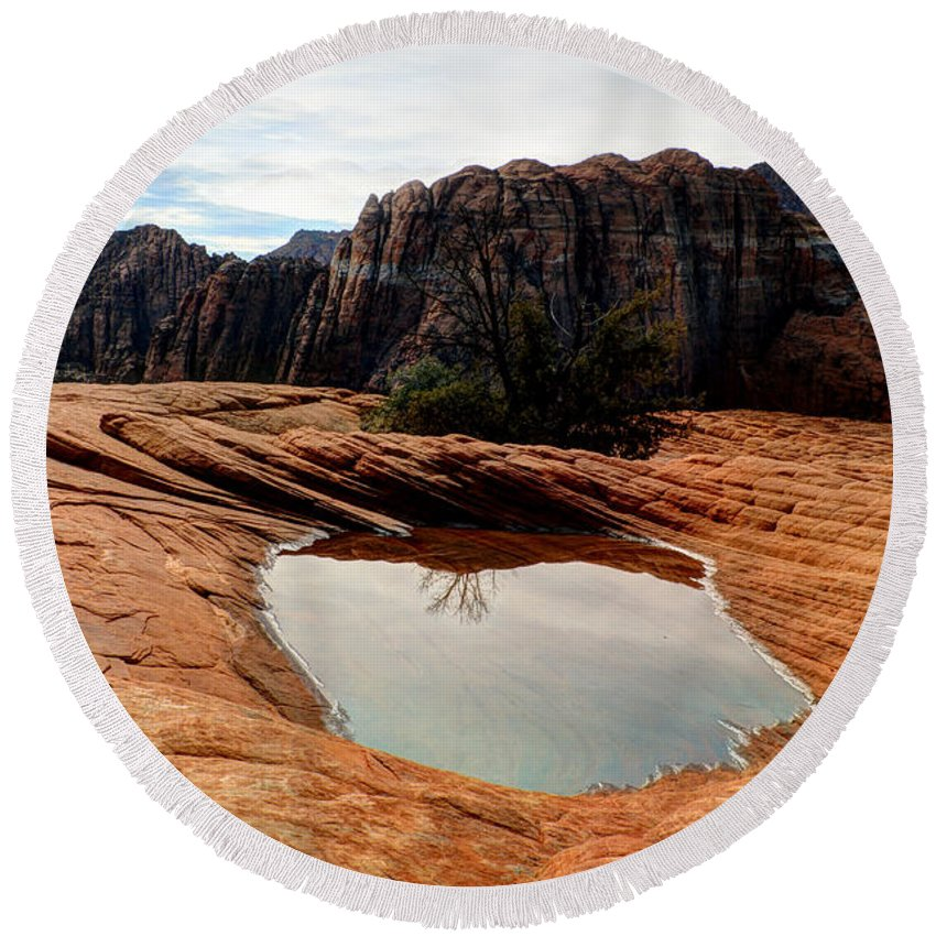Snow Canyon Round Beach Towel featuring the photograph Snow Canyon 3 by Vivian Christopher