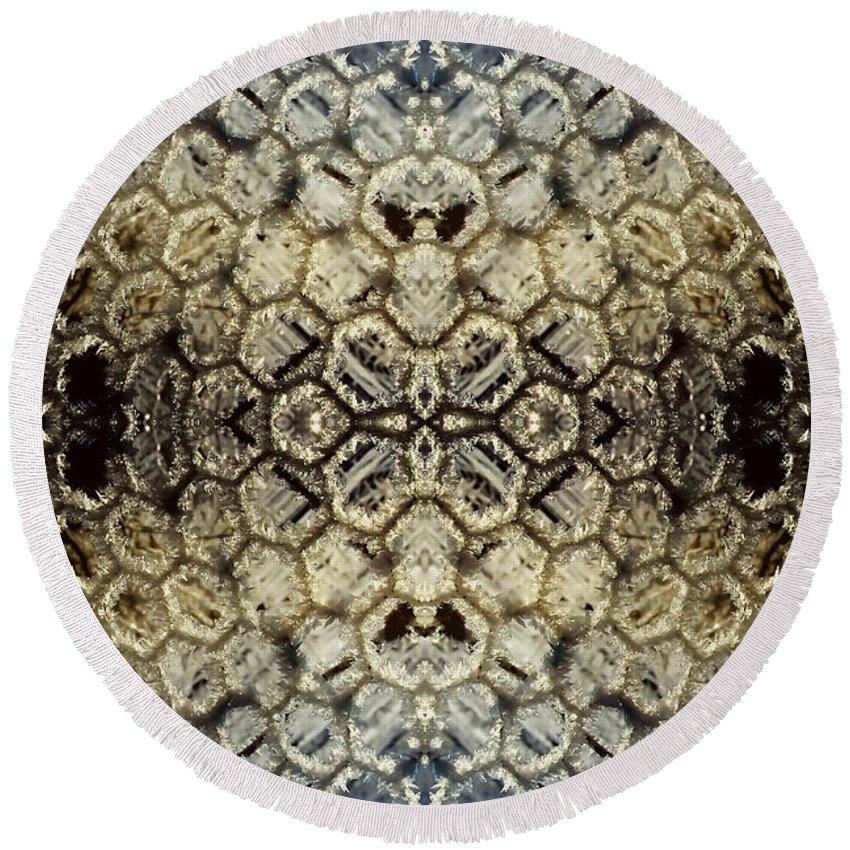 Abstract Round Beach Towel featuring the photograph Snow Fence - Abstract by Ellen Heaverlo