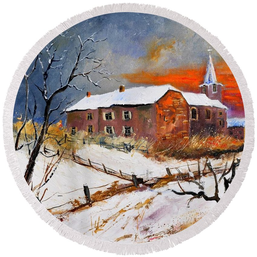 Landscape Round Beach Towel featuring the painting Snow In Houyet by Pol Ledent