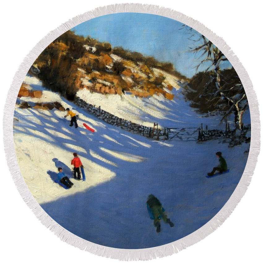 Fields Round Beach Towel featuring the painting Snow In The Valley by Andrew Macara