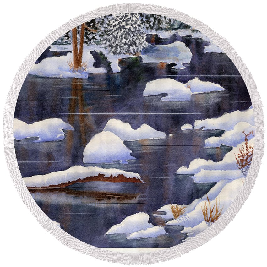 Round Beach Towel featuring the painting Snow Piles by Mohamed Hirji