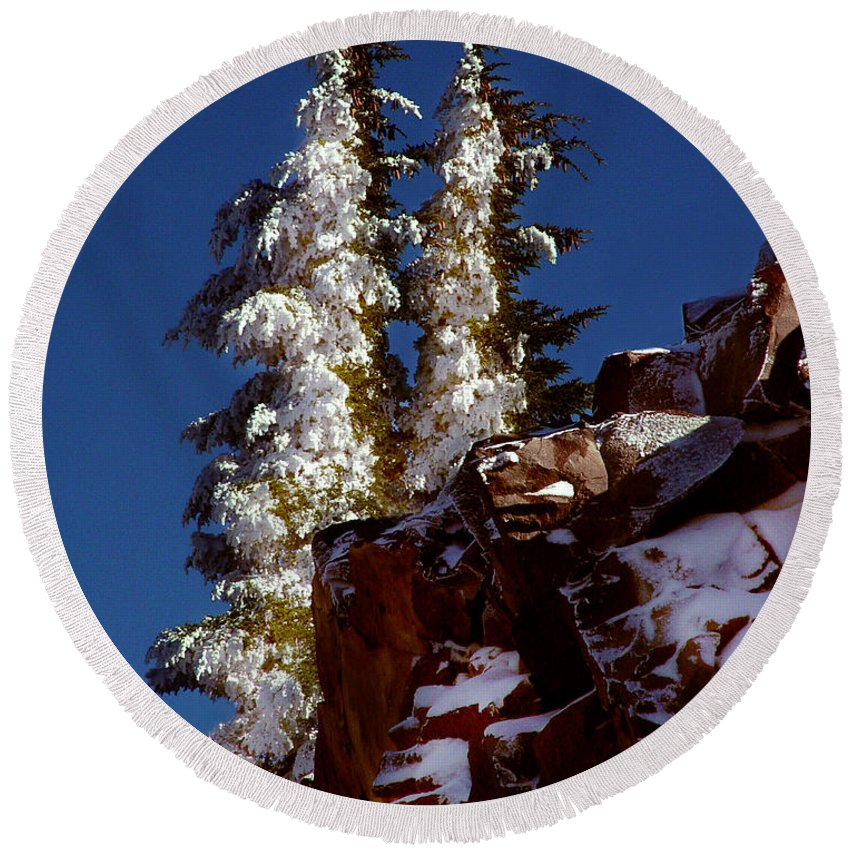 Snow Tipped Trees Round Beach Towel featuring the photograph Snow Tipped Trees by Peter Piatt