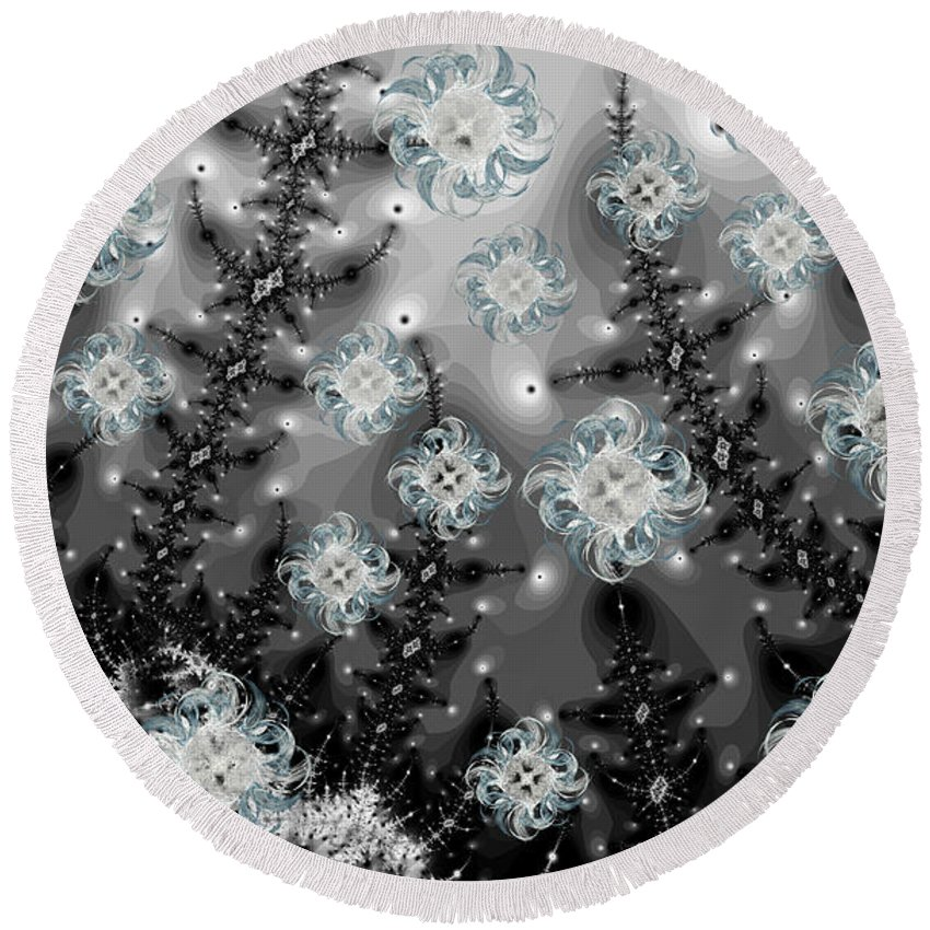 Fractal Round Beach Towel featuring the digital art Snowy Night I Fractal by Betsy Knapp
