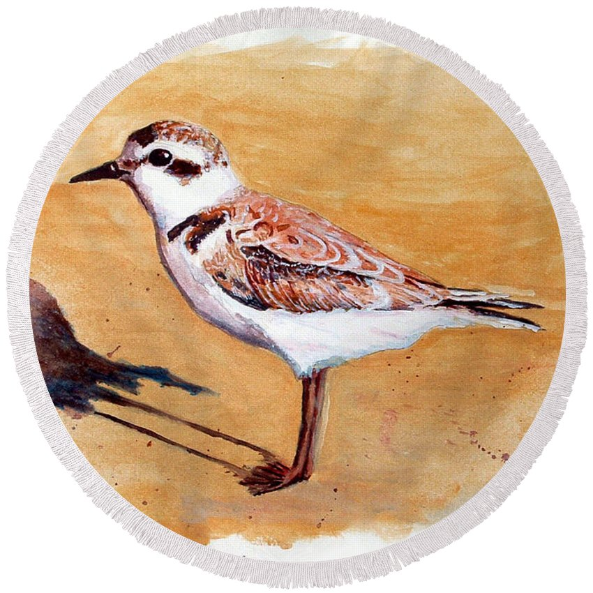 Bird Round Beach Towel featuring the painting Snowy Plover by Chriss Pagani