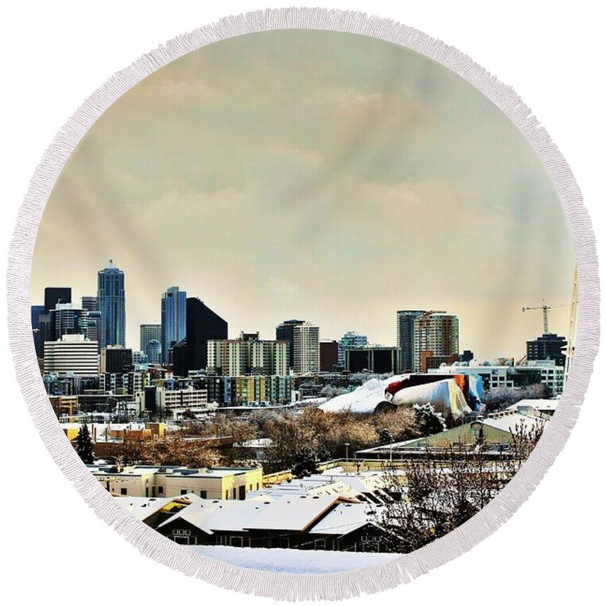 Seattle Round Beach Towel featuring the photograph Snowy Seattle by Benjamin Yeager
