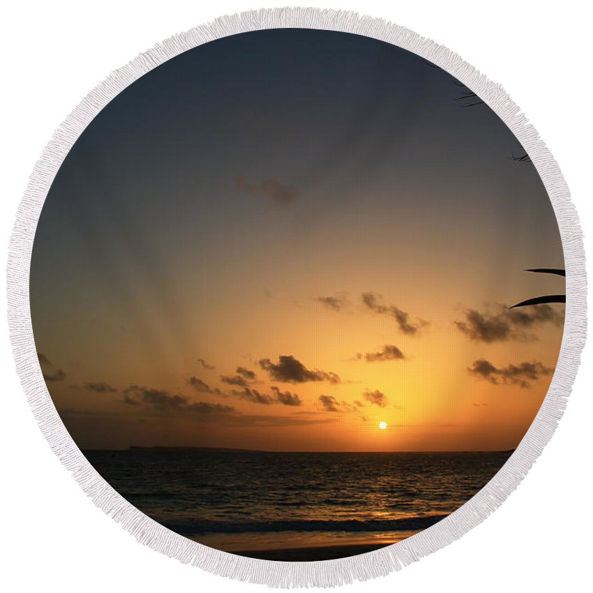 Sunrise Round Beach Towel featuring the photograph So Nice by Catie Canetti