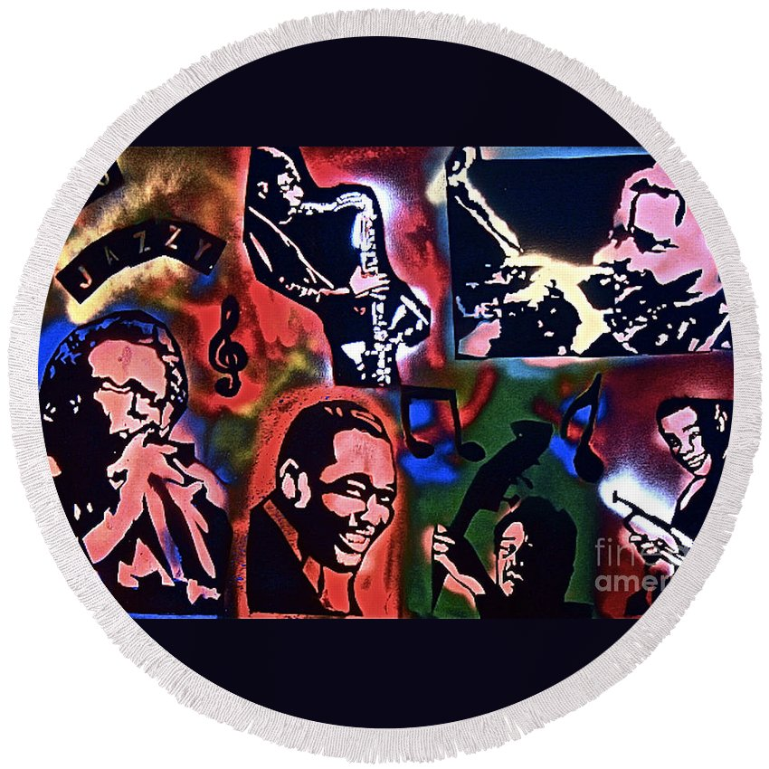 Jazz Round Beach Towel featuring the painting So So Jazzy by Tony B Conscious