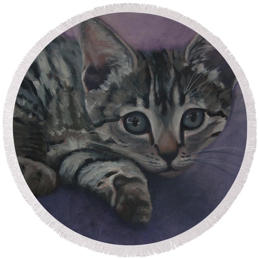 Cat Round Beach Towel featuring the painting Soffe by Suzn Art Memorial