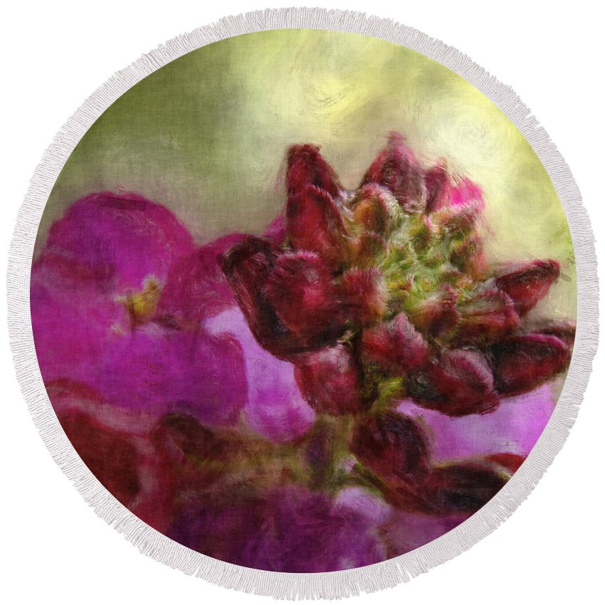 Nature Round Beach Towel featuring the digital art Soft Magenta by Debbie Portwood