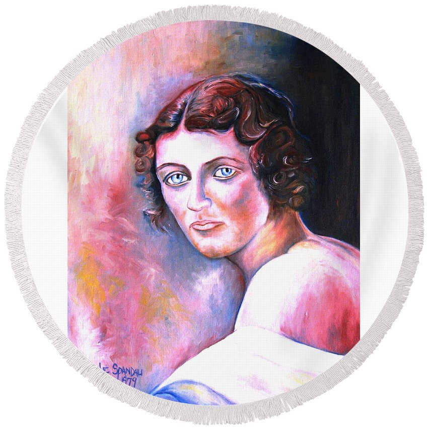 Portrait Round Beach Towel featuring the painting Soft Shoulder by Carole Spandau