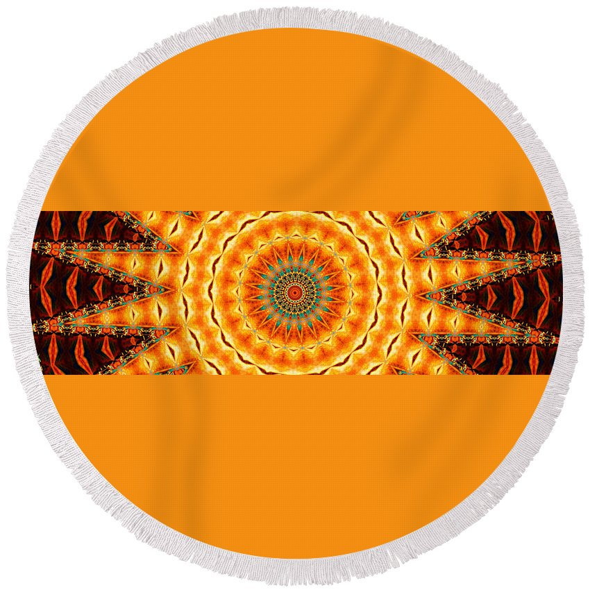 Kaleidoscope Round Beach Towel featuring the painting Solar Wind by Adam Vance