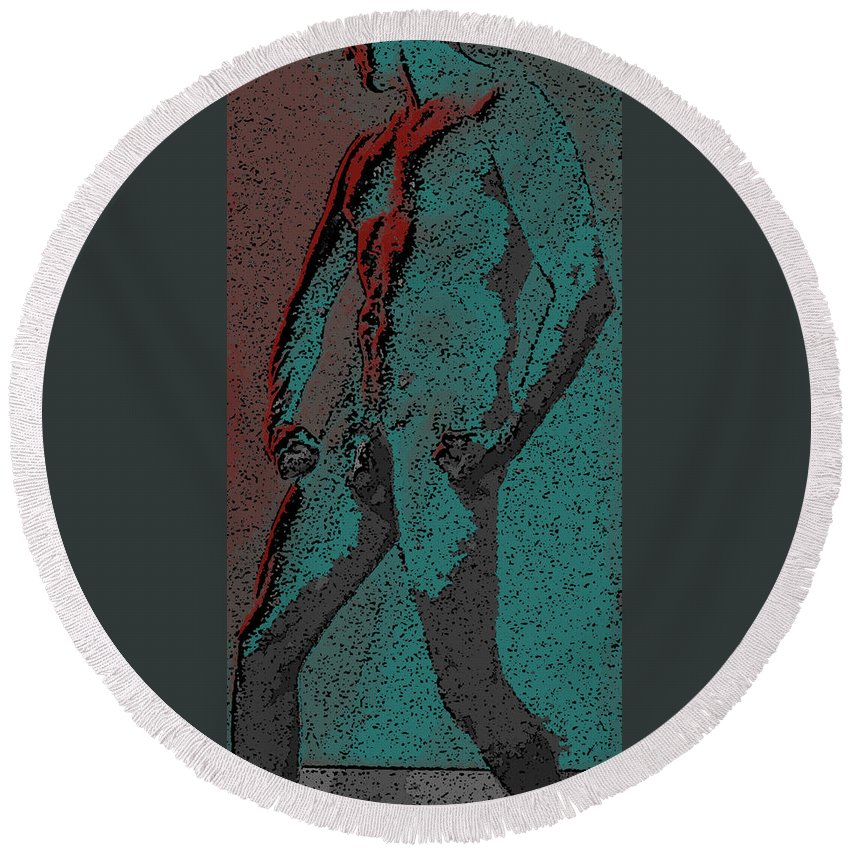 Teal Round Beach Towel featuring the digital art Solarized by Teri Schuster