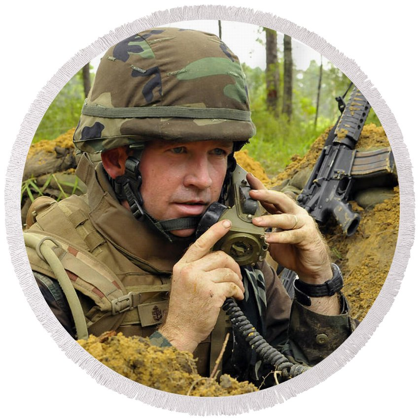 Field Radio Round Beach Towel featuring the photograph Soldier Using A Ta-1 Sound Powered by Stocktrek Images