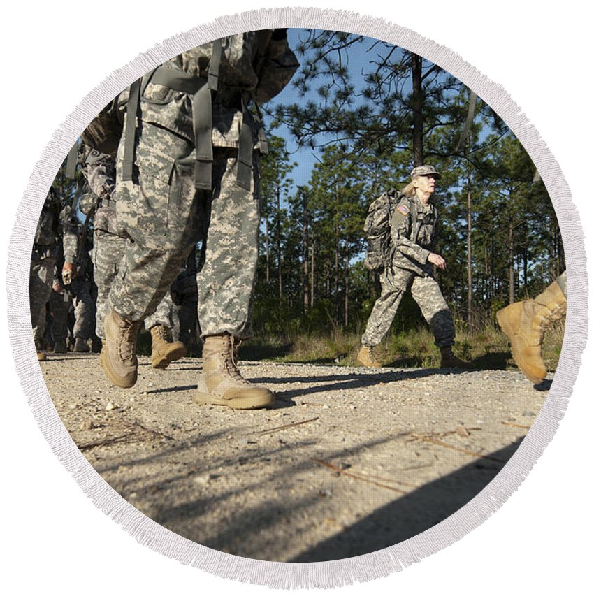 Fort Bragg Round Beach Towel featuring the photograph Soldiers Conduct A Ruck March At Fort by Stocktrek Images