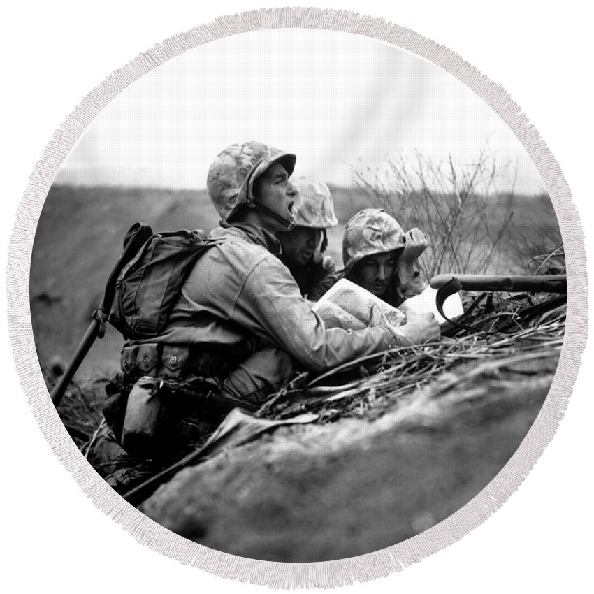 Black And White Round Beach Towel featuring the photograph Soldiers Locate Enemy Position On A Map by Stocktrek Images