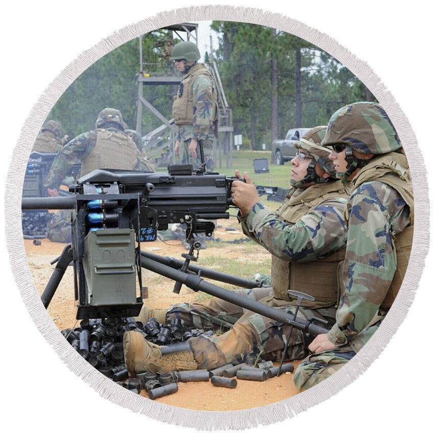 Seabees Round Beach Towel featuring the photograph Soldiers Operate A Mk-19 Grenade by Stocktrek Images