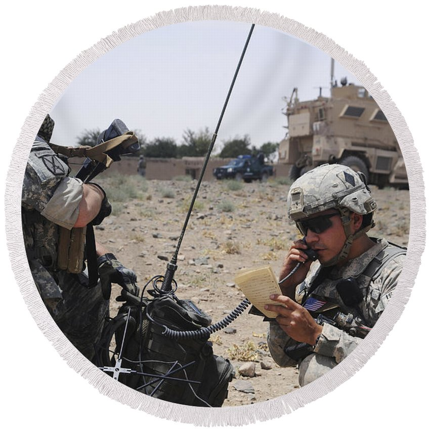 Portable Round Beach Towel featuring the photograph Soldiers Setting Up A Satellite by Stocktrek Images