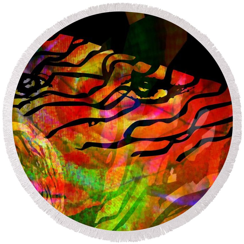 Fania Simon Round Beach Towel featuring the mixed media Someone In A Hat by Fania Simon