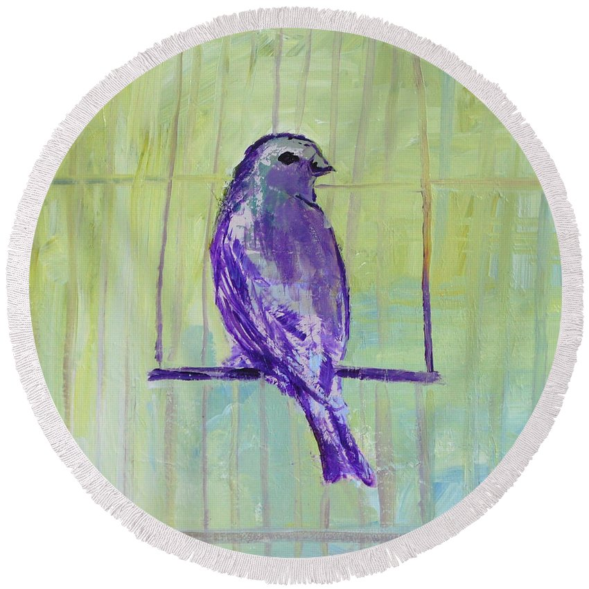 Bird Round Beach Towel featuring the painting Songbird by Melissa Peterson