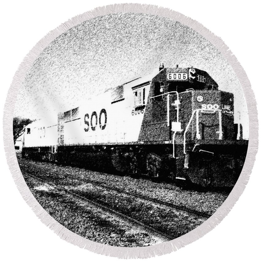Soo Round Beach Towel featuring the photograph Soo Line Sd60s 2 by John Brueske
