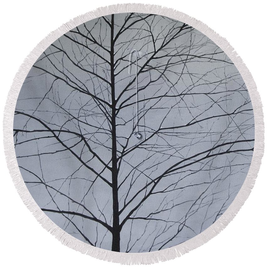 Winter Trees Round Beach Towel featuring the painting Sorrow by Roger Calle