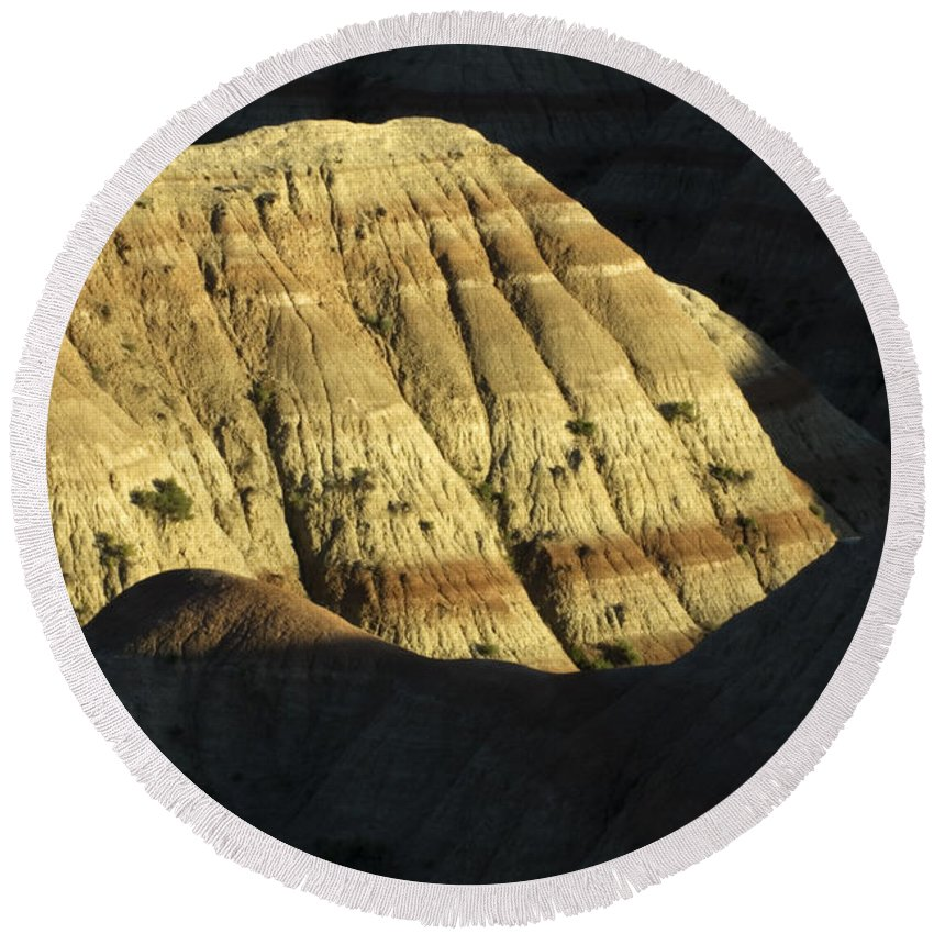 Badlands Round Beach Towel featuring the photograph South Dakota Badlands by Bob Christopher